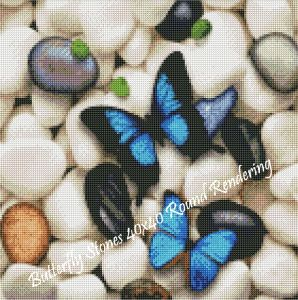 Butterfly Stones Round Rendering