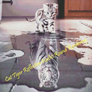 Cat Tiger Reflection Round Rendering