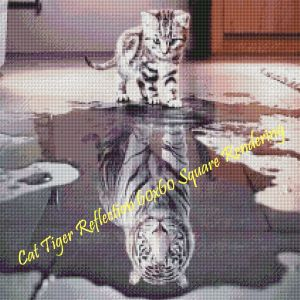 Cat Tiger Reflection Square Rendering