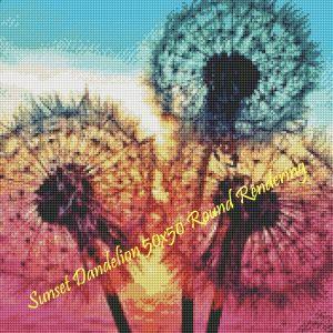 Sunset Dandelion Round Rendering