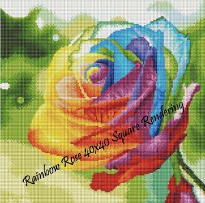 Rainbow Rose Square Rendering