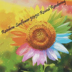 Rainbow Sunflower Round Rendering