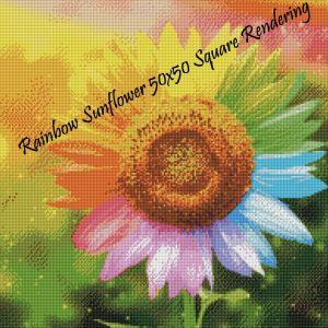 Rainbow Sunflower Square Rendering