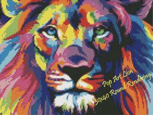Pop Art Lion Round Rendering