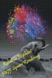 Rainbow Elephant Square Rendering