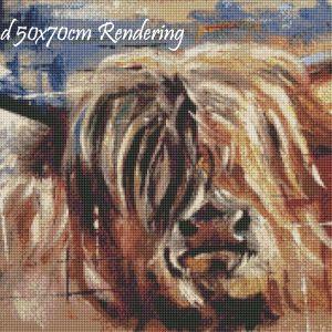 Highland Cow Round Rendering